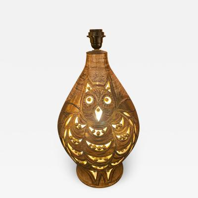 Georges Pelletier Ceramic Lamp Owl France 1960s