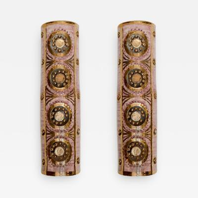Georges Pelletier Pair of Vertical Glazed Ceramic Wall Sconces by Georges Pelletier