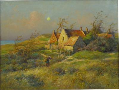 Georges Philibert Charles Maroniez Cottage by the Sea Oil Painting by Georges Maroniez French 1865 1933