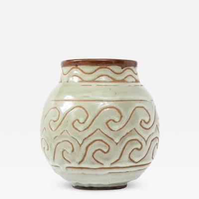 Georges Serr Georges Serr Art Deco Ceramic White Celadon Enamel Vase France c 1930