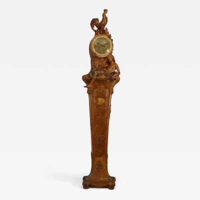 Georges Turck French Art Nouveau Oak Grandfather Clock