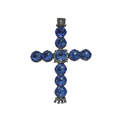 Georgian 18th Century Diamond Gold and Blue Stone Large Crucifix Cross c 1800