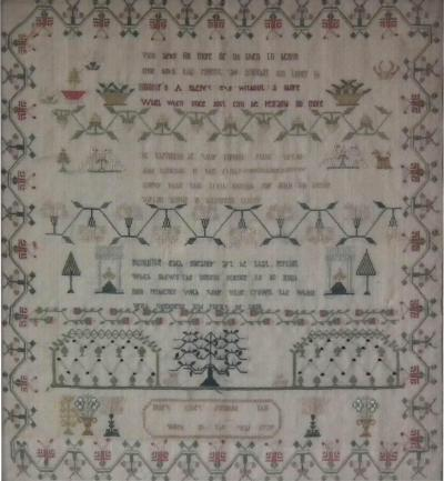 Georgian Antique Textile Sampler 1779 by Mary Elley