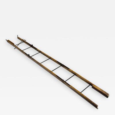 Georgian Ash and Iron Hinged Folding Ladder Circa 1830