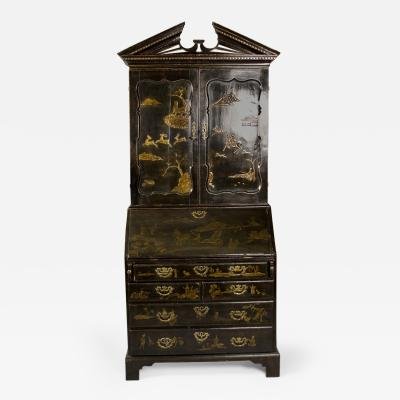 Georgian Black Lacquer Chinoiserie Bookcase Secretary