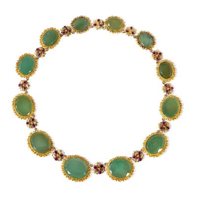 Georgian Gold Chrysoprase and Ruby Necklace of Graduated Oval Links