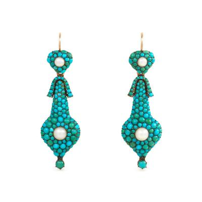 Georgian Gold Pav Turquoise and Pearl Day to Night Earrings