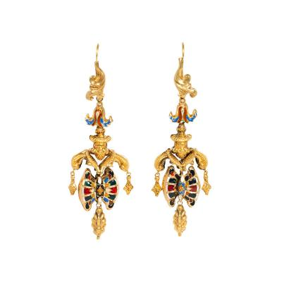 Georgian Gold and Multi Colored Swiss Enamel Girandole Style Earrings