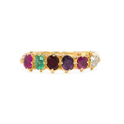 Georgian Gold and Multi Gemset Acrostic REGARD Ring