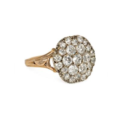 Georgian Gold and Pav Diamond Cluster Ring with Foliate Shoulders