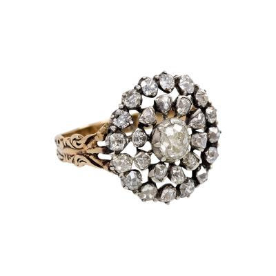 Georgian Old Mine Diamond Cluster Ring in Silver and 15K Gold