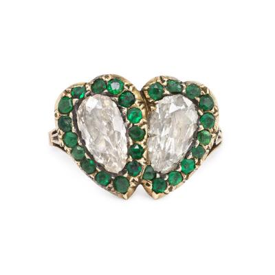 Georgian Period Diamond and Emerald Double Heart Ring