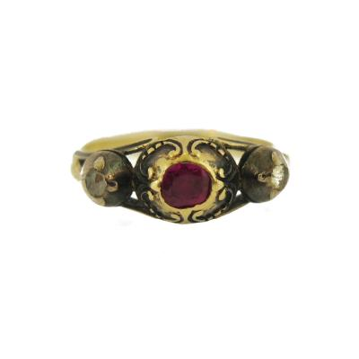 Georgian Ruby and Diamond Accent Ring