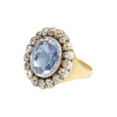 Georgian Sapphire and Old Mine Diamond Cluster Ring