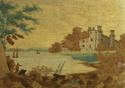 Georgian Woolwork Embroidered Picture Castle by a Lake