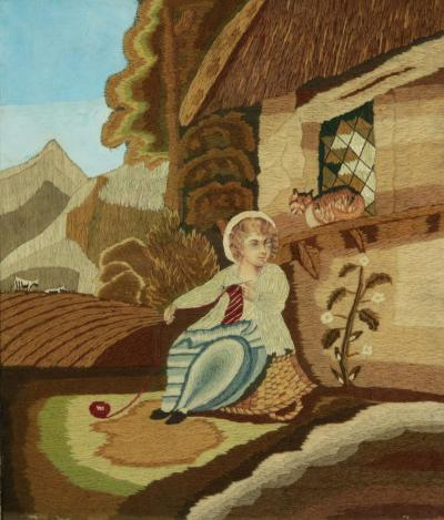 Georgian Woolwork Picture of Child Playing With Cat