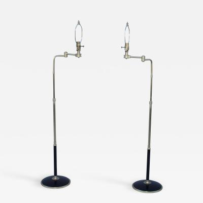 Gerald Thurston 1950s Adjustable Height Brass Floor Lamps Attributed To Gerald Thurston