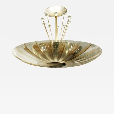 Gerald Thurston Gerald Thurston Glass Fixture with Brass Shade and Crystal 1960s
