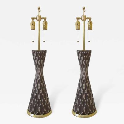 Gerald Thurston Gerald Thurston Table Lamps Lightolier Chocolate Honeycomb Brass USA 1950s