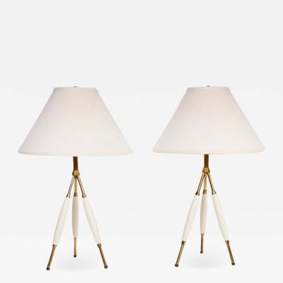 Gerald Thurston Gerald Thurston for Lightolier Brass Off White Tripod Table Lamps 1950s Pair