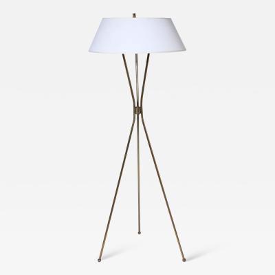 Gerald Thurston Gerald Thurston for Lightolier Brass Tripod Floor Lamp with Linen Shade 1950s