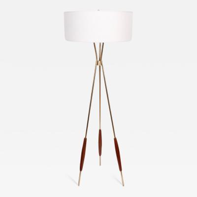 Gerald Thurston Gerald Thurston for Lightolier Brass Walnut Tripod Floor Lamp with White Shade