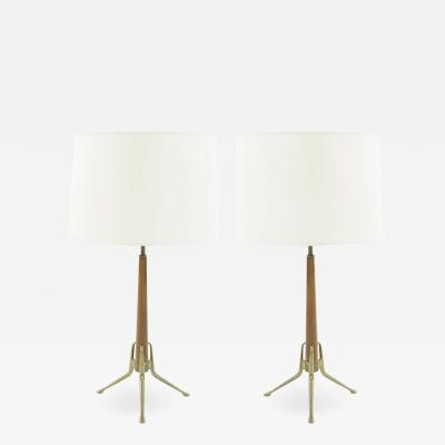 Gerald Thurston Gerald Thurston for Lightolier Brass and Walnut Table Lamps 1950s