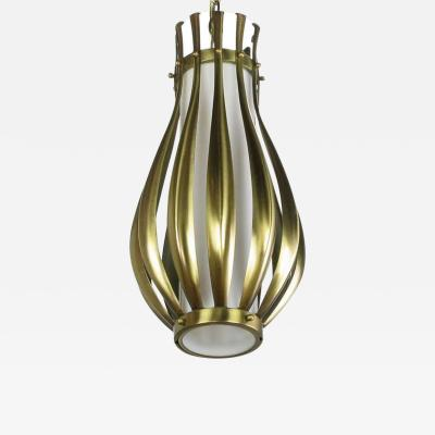 Gerald Thurston Gourd Form Brushed Brass and Milk Glass Pendant Light
