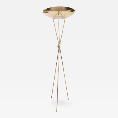 Gerald Thurston Mid Century Modernist Brass Tripod Floor Lamp by Gerald Thurston