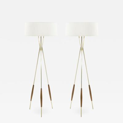 Gerald Thurston Pair of Brass and Walnut Tripod Floor Lamps by Gerald Thurston 1960s