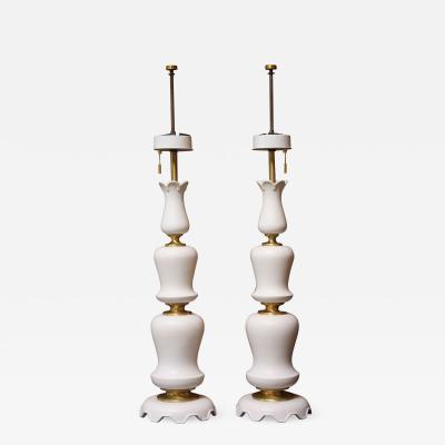 Gerald Thurston Pair of Decorative Tiered Ceramic and Brass Lamps by Gerald Thurston