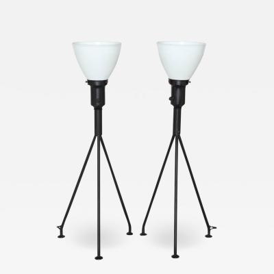Gerald Thurston Pair of Gerald Thurston Black Iron Tripod Table Lamps with White Glass Shades