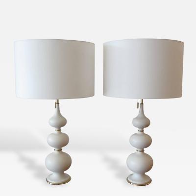 Gerald Thurston Pair of Gerald Thurston Stacked Porcelain Gourd Lamps for Lightolier