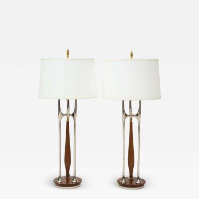 Gerald Thurston Rare Gerald Thurston Massive Brass Nickel And Walnut Table Lamps