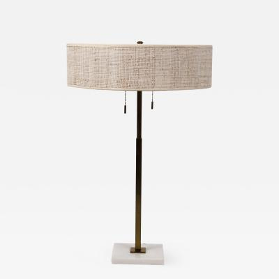 Gerald Thurston Stiffel Table Lamp by Gerald Thurston Brass Marble with Lacquered Cane Shade