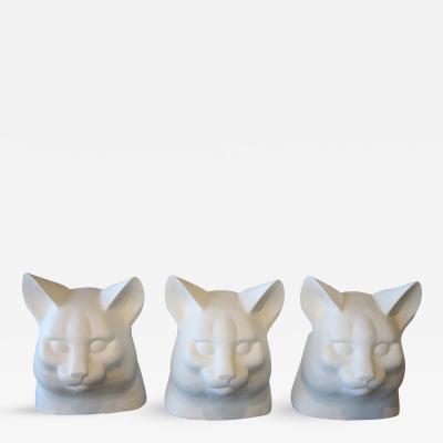 Geraldine Knight Three Large Fiberglass Cat Busts by Noted British Sculptor Geraldine Knight