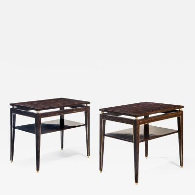 Gerard Ferretti Pair of Brass Mounted Palm Wood Tables by Gerard Ferretti