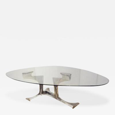 Gerard Mannoni Exceptional Dining Table in Cast Aluminum and Glass by Gerard Mannoni Circa 1970
