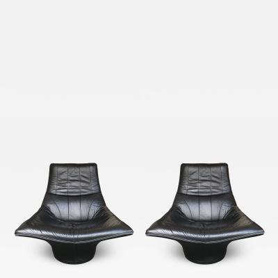 Gerard van den Berg Pair of Leather Lounge Armchairs by Gerard Van Den Berg Netherlands 1980s