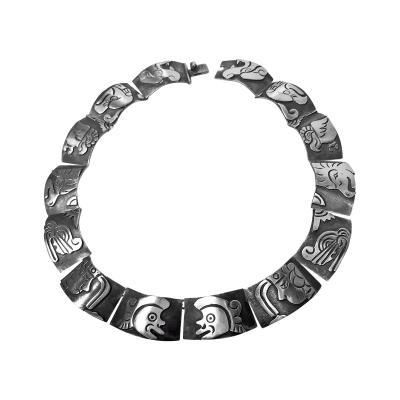 Gerardo Lopez 1950 s Mexican Sterling Silver Aztec Deity Necklace