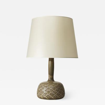 Gerd B gelund Table lamp with gourd form in ceramic with incised pattern by Gerd B gelund