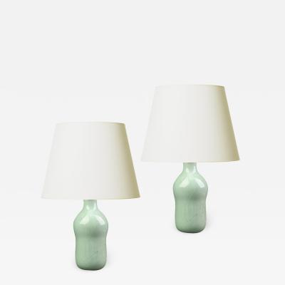 Gerd Bogelund Pair of Organically Modeled Lamps in Celadon by Gerd Bogelund
