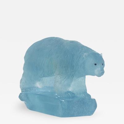 Gerd Dreher Carved Aquamarine Polar Bear by Gerd Dreher
