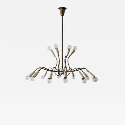 German 18 Arm Brass Chandelier 1950