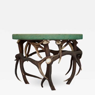 German Antler Circular Coffee Table with Green Felt Top
