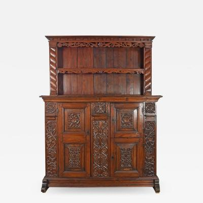 German Lower Rhine 18th Century Carved Pine Cabinet with Dish Rack