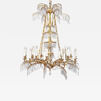 German Neoclassic Ormolu and Cut Glass Twenty Four Light Chandelier circa 1795