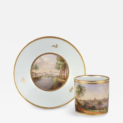 German Porcelain Topographical Cup and Saucer c 1800