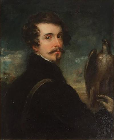 German Romantic School Portrait of a Gentleman Falconer
