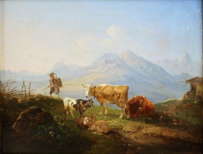 German School 19th Century Mountainscape Painting of Cattle and Sheep